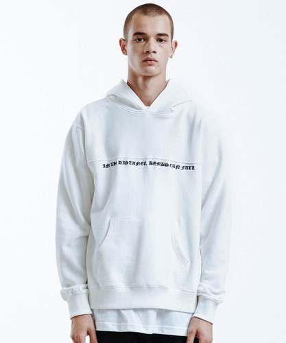 Panelled Embroidery Hoodie (White)