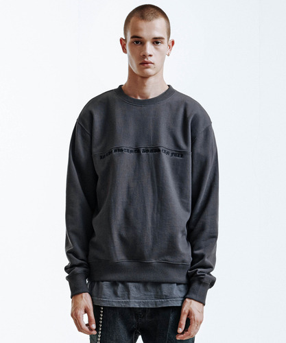 Panelled Embroidery Sweatshirt (Charcoal)