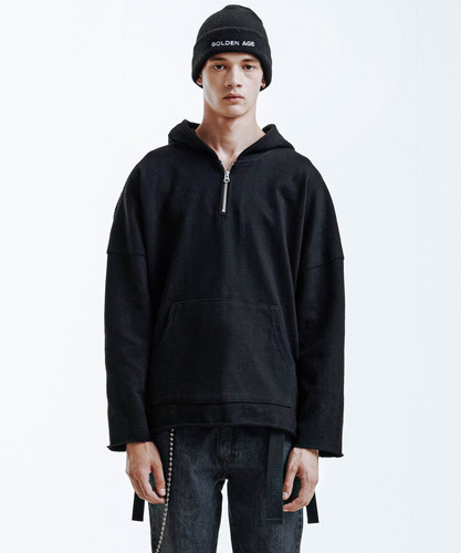 Heavy Single Strap Hoodie (Black)