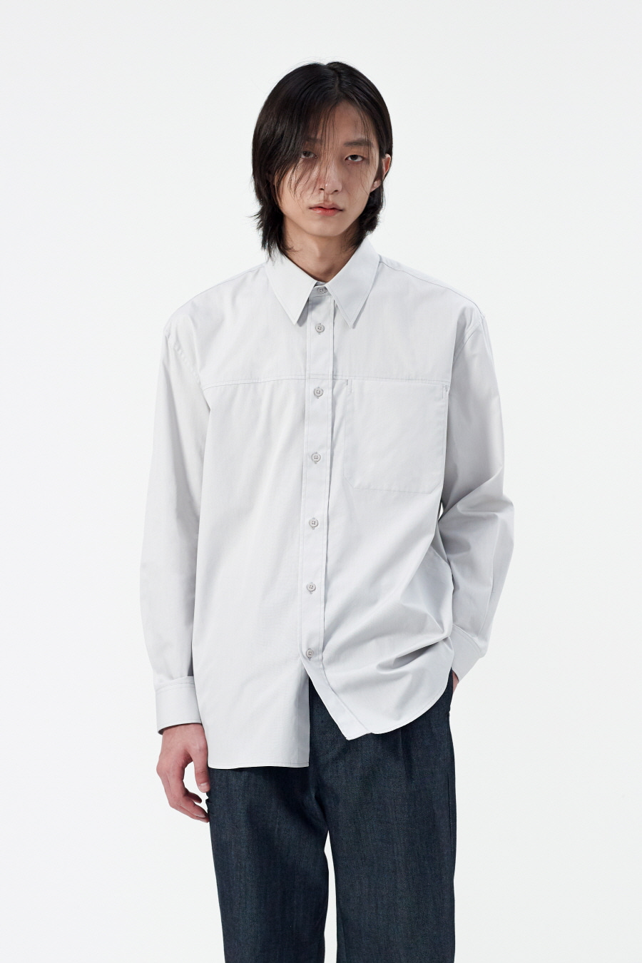[BLACK LABEL] 스티치 포켓셔츠 LIGHT GREY